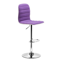 ZUO MODERN - Logic Barstool Purple Fabric - Sleek and sexy, the Logic Barstool completes any modern space.  It has a fabric seat and leatherette back with chrome height adjustable swivel base.