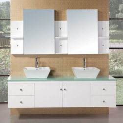 "Design Elements - Portland 71"" Double Sink Bathroom Vanity Set in White Finish - The Portland 71"" bath vanity set is elegantly constructed of solid oak wood. The tempered glass countertop brings a clean and contemporary look to any bathroom. Seated at the base of the double ceramic designer sinks are chrome finished pop up drains designed for easy one touch draining. Two matching framed mirrors and shelves are included. Built into the vanity are four additional drawers and two cabinets adorned with satin nickel hardware.; Solid Oak Wood construction; Aqua green Tempered Glass Counter Top; Rectangular White Porcelain Vessel Sinks; Faucet not included.; Polished chrome pop up drain; Four Drawers and Double Door Cabinet; Medicine Cabinets included; Three Tiered Medicine cabinets and shelves; Matching framed mirror; Dimensions: 72""W x 22""D x 22""H"