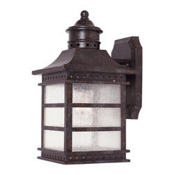 Savoy House - Savoy House 5-440-72 Seafarer Wall Mount Lantern - With design inspired by a nautical lighthouse featuring geometric embossed diamond rivets, this family, finished in Rustic Bronze with Pale Cream Textured glass, is perfect for any casual home.