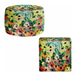 DiaNoche Designs - Ottoman Foot Stool by Aja-Ann - Wildflowers II - Lightweight, artistic, bean bag style Ottomans.  Coming in 2 squares sizes and 1 round, you now have a unique place put rest your legs or tush after a long day!. Artist print on all sides. Dye Sublimation printing adheres the ink to the material for long life and durability. Printed top, khaki colored bottom, Machine Washable, Product may vary slightly from image.