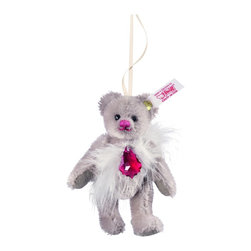Florentine Teddy Bear Ornament EAN 034695 - Our Teddy bear Florentine ornament is inspired by the baroque styles of 17th and 18th century art, architecture, and music. She is distinguished by ornate flourishes that complement her warm grey mohair coat. Around her neck, this sumptuous Teddy bear wears a necklace decorated with SWAROVSKI ELEMENTS suspended on a glittering silver cord. Luxurious real feathers and a bright fuchsia nose add to the ornament's distinctive appeal. Perfect as a decoration at any time of year, our Florentine ornament is ideal in any space that needs a touch of elegance.