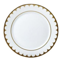 "L'Objet - L'Objet Aegean 24kt Gold Filet Bread and Butter - Greco-Roman antiquities inspired this contemporary dinnerware with its timeless and delicate scalloped decal border. Limoges Porcelain, Made in Portugal. Dishwasher Safe on Delicate Setting. 3 Layers of Hand Applied 24K Gold. Not Microwavable. Measures: 6.5"" L'Objet is best known for using ancient design techniques to createtimeless, yet decidedly modern serveware, dishes, home decor and gifts."