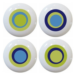 Carolina Hardware and Decor, LLC - 4 Green Retro Circle Ceramic Knobs - Set of four new 1 1/2 inch ceramic cabinet, drawer, or furniture knobs with mounting hardware included. Also works great in a bathroom or on bi-fold closet doors (may require longer screws). Item can be wiped clean with a soft damp cloth. Great addition and nice finishing touch to any room!