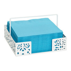 Brocade Napkin Basket - I always tend to forget napkins at my parties, but they are essential — especially if you're barbecuing. This white napkin basket would look good on any table, especially with some brightly colored napkins.