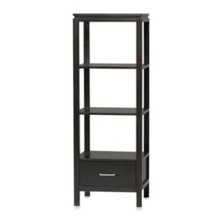 Linon Home - Somerville Black Media Tower - The simple beauty of Somerville TV Tower is enhanced by the contemporary black finish. This TV Tower has a large drawer and ample shelving allowing you to store electronics and media in style.