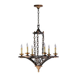 Cyan Design - Cyan Design San Giorgio 6 Lt Chandelier - Combining modern with traditional, the six lights sit on an iron frame accented with an oiled bronze finish. This chandelier is a hanging sculpture ready to light any room in your home.