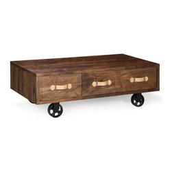 Zuo Era - Oaktown Low Table Distressed Walnut - Our rectangular Oaktown Low Table is a stylish piece that adds functionality to your living space. Soft handles pull out three drawers resting on wheels of antiqued metal. It's the perfect low console to compliment any living room, kitchen, dining room.