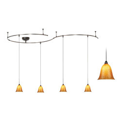 """WAC - WAC Bronze 250 Watt Amber Glass 4-Light Rail Kit - The amber art glass pendant shades that hang from this rail kit are uniquely colored with black frit creating a lovely pattern when illuminated. This flexible contemporary ceiling rail kit comes with a length of track you can bend and shape to create your own custom installation. The warm color of the amber glass creates a delightful glow. All connectors rail sections end caps and stand-off supports are included. A 250 watt surface mount electronic transformer is also included. Bronze finish. Amber glass with black frit. Up to five pendant lights may be hung from the track; additional lights sold separately. Includes four clear 50 watt 12 volt bulbs. Each rail is 42"""" long. Each pendant hangs 46 1/2"""" from the ceiling.  Amber glass with black frit.   Bronze finish.   Great for home theater use.  Track may hold up to 5 lights.  Flexible rail can be curved into position.  With five standoff points.  WAC monorail track kit.  Includes four 50 watt 12 volt clear bulbs.   Each pendant hangs 46 1/2"""" from the ceiling.  Each rail is 42"""" long.   Overall track rail length of 10 feet 6""""."""