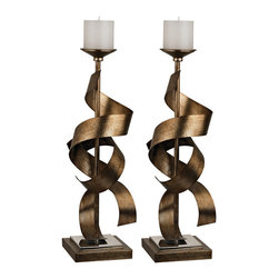 Sterling - Sterling 112-1148/S2 Set Of 2 Metal Sculpture Candle Holders - Sterling 112-1148/S2 Set Of 2 Metal Sculpture Candle Holders