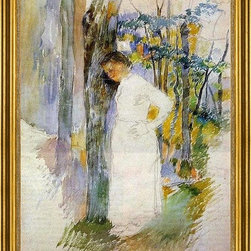 """Camille Pissarro-18""""x24"""" Framed Canvas - 18"""" x 24"""" Camille Pissarro Peasant Woman Standing next to a Tree framed premium canvas print reproduced to meet museum quality standards. Our museum quality canvas prints are produced using high-precision print technology for a more accurate reproduction printed on high quality canvas with fade-resistant, archival inks. Our progressive business model allows us to offer works of art to you at the best wholesale pricing, significantly less than art gallery prices, affordable to all. This artwork is hand stretched onto wooden stretcher bars, then mounted into our 3"""" wide gold finish frame with black panel by one of our expert framers. Our framed canvas print comes with hardware, ready to hang on your wall.  We present a comprehensive collection of exceptional canvas art reproductions by Camille Pissarro."""