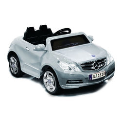 Kid Motorz - Kid Motorz Mercedes Benz E550 Car Battery Powered Riding Toy - Silver - 0771 - Shop for Tricycles and Riding Toys from Hayneedle.com! She'll be turning heads as she glides down the sidewalk in the Kid Motorz Silver 6V Mercedes Benz E550 1 Seater. This is an officially licensed battery operated Mercedes Benz E550 ride-on. It features forward and reverse gears with a maximum speed 2.5 mph. Maximum load capacity 66 lbs. 6V rechargeable battery with UL listed charger included. Easy assembly. Product dimensions 44L x 24.5W x 20.7H inches. Made in China. Recommended for kids ages 3 - 6.About National ProductsA leading toy manufacturer and exporter in Hong Kong National Products is part of a group of four firms called the Playmind Ltd. Group. As recognized by peers the company is both a reputable and reliable working partner as well as supplier in the toy and ride-on industry. Most importantly it's not only children who have fun with National Products ride-on products; parents also appreciate the detailed life-like quality and safety of the innovative designs. National meets or exceeds all safety/quality control government guidelines.