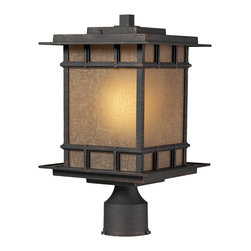 Elk Lighting - Elk Lighting 45014/1 Newlton 1 Light Post Mount in Weathered Charcoal - 1 Light Post Mount in Weathered Charcoal belongs to Newlton Collection by Elk Lighting The Newlton Collection Projects Clean Styling And Historic Character That Is Carried Through The Design Elements Of The Frame, Arm And Backplate.  The Lantern Is Constructed Of Solid Cast Aluminum, Finished In Weathered Charcoal For Long Lasting Durability. The Seeded Amber Linen Glass Portrays A Warm Ambiance To Your Outdoor Environment.  Post Light (1)