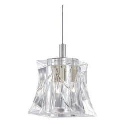 Philips Forecast Lighting - Liz 5836 Pendant by Philips Forecast Lighting - Sparkling with energy-efficient elegance. The Philips Forecast Lighting Liz 5836 Pendant pairs the classic beauty of cut crystal with cutting-edge LED technology. The flared Clear glass shade is almost weightlessly suspended from its field-cuttable cord, neatly complemented in Satin Nickel. When several are hung together, the pendants create the impression of a diamond necklace. For more than 40 years, Philips Forecast has offered their distinctive line of contemporary yet accessible lighting for the home. The Philips Forecast lighting collection runs the gamut of modern design, from simple and transitional to organic to modern industrial. Whatever the style of the fixture may be, attention to detail and quality ensures that it will illuminate and enhance spaces indoors or out for many years.