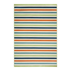 None - Indoor/ Outdoor Multi Striped Rug (3'11 x 5'7) - Complete your indoor or outdoor decor setting with this bold and bright striped design rug in inviting shades of green,white,blue,navy and orange. This soft,machine made rug is constructed of polypropylene for an easy to clean finish.
