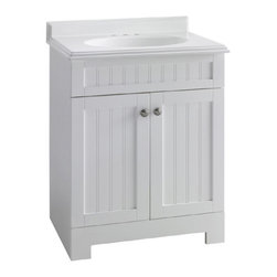 ESTATE by RSI 25-Inch White Boardwalk Bath Vanity with Top - With its classic beadboard front, this is a quick way to freshen up a dated bath.
