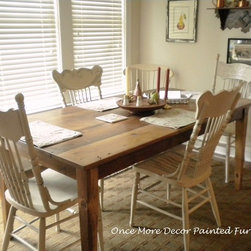 Custom Work - Two pairs of dining chairs painted in Annie Sloan Chalk Paint--old ochre--distressed with a wax finish. Photo by Sally Butcher
