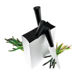 "Eva Solo - Eva Solo Knife Stand, Angled - Not only for knives, a flexible folding plastic inserts accommodates knives and many other utensilsFour (4) Fold-up inserts are removable for cleaningRobust aluminum housing. Cabinet of solid aluminum. Angled version. Dimensions: 3 W x 9 D x 10.5 H ""Gift boxed. Made in Denmark."