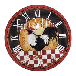 12 Inch Diameter `Early Bird Diner` Rooster Glass Kitchen Wall Clock - Made of glass, this gorgeous 12 inch diameter battery powered wall clock features rooster themed advertising for the `Early Bird Diner`. It has roman numeral markers and black hands. The print is applied from the back, so it won`t scratch easily . It runs on one AA battery (not included). This wall clock makes a great gift for rooster lovers, or anyone with country decor.