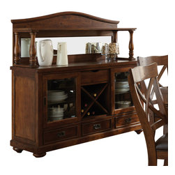 "Steve Silver Furniture - Steve Silver Wyndham Buffet w/ Hutch in Distressed Tobacco - The Wyndham Dining Collection adds a rustic country charm to any dining area, with modern touches that even the most sophisticated home decorator will love. The Wyndham server with wine storage combines old-fashioned appeal with a modern central wine storage area. There is plenty of room for storing other necessaries like china and silver, with three drawers and two glass-front cabinets. The spacious 20"" x 35"" top adds extra serving surface. Pair with the mirrored Wyndham hutch (sold separately) for even more storage and display options."