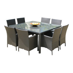 MangoHome - Outdoor Patio Wicker Furniture New Resin 9-Pc Square Dining Table & Chairs Set - Outdoor Patio Wicker Furniture New Resin 9-Piece Square Dining Table & Chairs Set