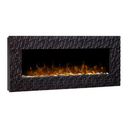 ClassicFlame - Dimplex Wakefield Linear Wall Mount Electric Fireplace - DWF-1318 - The Wakefield Electric Fireplace offers a contemporary touch with its sculpted frame in a copper-accented espresso finish and river rock ember bed. This Dimplex fireplace provides supplemental heat for up to 400 square feet. Included with the DWF-1318 is an on/off remote control, pedestal base for tabletop application, and 1 year manufacturer's warranty.