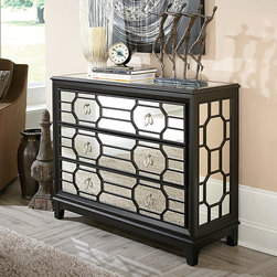 Entryway | Smart Furniture - The Mirrored Hall Chest is a statement piece for the contemporary entryway.