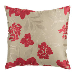 "Surya - Floral Square Pillow HH-047 - 18"" x 18"" - This pillow's floral pattern is both trendy and classic. Colors of beige and red accent this decorative pillow. This pillow contains a poly fill and a zipper closure. Add this pillow to your collection today."