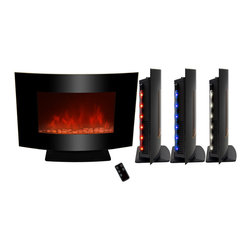 "AKDY - AKDY AG-Z520APB Wall Mount Electric Fireplace, Pebble, 36"", W/ Free Standing Kit - GV's high performance wall mount electric stoves offer the instant ambiance of a traditional fireplace experience. Each of our wall mount electric fireplaces provide quiet, instant heat and eye-catching design. You will find electric stoves with both classic and traditional designs that will complement many decors. Our electric fireplaces are ideal for condominiums, lofts, apartments or single homes. Simply plug in and enjoy the warmth and realistic flame of your new fireplace anywhere in your home. The 3-D flame technology provides you with a realistic flame that can be enjoyed year round with or without heat. Our electric fireplace stoves plug into any standard outlet and move easily from one room to another."
