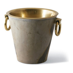 Frontgate - Autumn Stone Veneer Champagne Bucket - Double-walled construction traps condensation internally. Stainless steel tub with brass finish. Natural stone veneer. Masterfully hand-crafted. Due to the nature of the stone veneer, no two items will be exactly alike. A bottle of fine French champagne is a true work of art, and deserves to be showcased and chilled in equally stunning ice bucket. This handsome piece features a beautiful, hand-applied natural stone veneer and an antiqued, brass finished interior tub. The double-walled construction prevents sweating while keeping your beverage of choice chilled to the perfect degree.  .  .  .  .  .