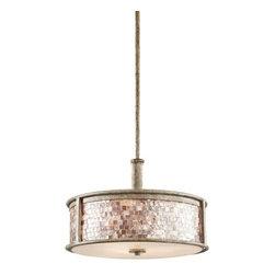 Kichler - Kichler 43262DAW Hayman Bay 3-Bulb Indoor Pendant with Drum-Shaped Glass Shade - Kichler 43262DAW Hayman Bay Pendant