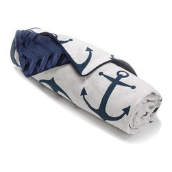 Liz and Roo - Navy Anchors Minky Blanket - Navy Anchors receiving blanket back with chevron embossed navy minky.