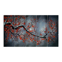 """Fabuart - """"Midnight Blossoms"""" - Modern Black Floral Oil Painting 1038 - 60 x 32in - Add depth to your decor with this floral painting. The bright red on dark background will be sure to make a statement in any room."""