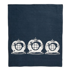 Cricket Radio - Montauk Diving Helmet Hand Towel, Navy/White - Submerge yourself in easy color and handmade style. This hand towel features vintage diving helmets hand-printed on Italian linen. In your choice of colors, it will add a perfect nautical touch in your kitchen or bath — or get several to use as oversize napkins. Go ahead. Take the plunge.