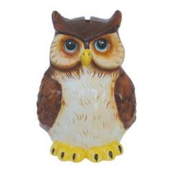 WL - 7.25 Inch Brown and Cream Wise Owl Shaped Ceramic Money Bank - This gorgeous 7.25 Inch Brown and Cream Wise Owl Shaped Ceramic Money Bank has the finest details and highest quality you will find anywhere! 7.25 Inch Brown and Cream Wise Owl Shaped Ceramic Money Bank is truly remarkable.