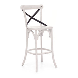 ZUO ERA - Union Square Bar Chair Antique White - Remember that enchanting bistro you discovered in Paris? Recapture that ambiance at home with your very own cafe bar chairs. Made from solid wood and antique metal, this chair features an x-back design and comes in three rustic finishes. Now all you'll need is some French food.