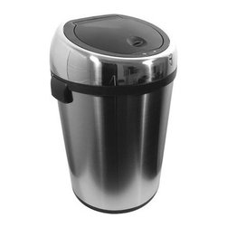 "Nine Stars - 17 Gallon Stainless Steel Infrared Trash Can - 17 Gallon Stainless Steel Infrared Trash Can Infrared technology enables the lid of this trash can to freely open and close - without you ever having to touch it! Simply place your hand or unwanted debris within six inches of the infrared chip and the lid opens instantly. The lid closes tightly three seconds after use; therefore unwanted odor is kept to a minimum. This touchless take on trash cans eliminates the chance of bacteria coming in contact with your hands, as would happen with a traditional trash can. With its elegant look, this infrared trash can can fit anywhere from your kitchen, garage, store or office. Having the capacity of 17 gallons, it can also ideally fit in any warehouse, hotel or commercial building. Features: -Hands-free automatic opening lid -Manual Open/Close buttons and power saving On/Off switch -Garbage bag retainer ring tightly holds the edges of the bag to prevent spillage -Infrared motion sensor detects motions within 10 inches -Hidden battery compartment -Requires (4) D Batteries (Not Included) -Capacity: 17 gallons -Material: Stainless steel -Weight: 17.00 lbs. -Overall Dimensions: 22"" H"