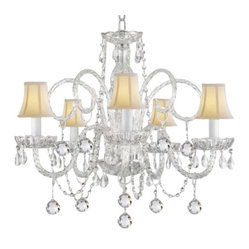 The Gallery - Crystal Chandelier with White Shades - Illuminate your favorite formal setting with pure sparkling splendor. This extraordinary chandelier features dazzling crystal balls and dainty champagne-colored shades.