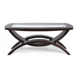 Magnussen - Helix Coffee Table - Features: -Walnut veneers.-1'' Bevel and uniquely bent legs.-Modern flair.-Solid hardwood construction.-Hazelnut finish.-Helix collection.-Collection: Helix.-Distressed: No.Dimensions: -Dimensions: 19'' H x 48'' W x 30'' D.