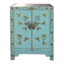 Golden Lotus - Chinese Blue Base Color Butterflies Graphic End Table - This is a modern end table with blue color base color and hand painted colorful butterflies graphic on the front.