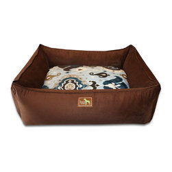 """Luca for Dogs - Large Chocolate Lounge Bed, Heirloom Blue - This beautifully designed bed allows your dog to stretch out and stay ultra cozy. Our signature """"easy-wash"""" sheet covers make washing easy and quick. Overstuffed with 100% recycled fiber. Nylon liner protects the inner pillow. 100% washable."""