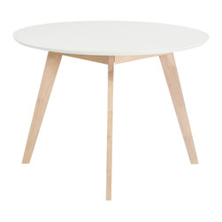 "Euro Style - Montana 42"" Round Dining Table - Sometimes you want pieces that don't make a fuss. That requires simplicity of design that puts function first. The Montana collection is a perfect example. White tops and natural rubber wood legs and frames may not make the boldest statement until you want to use them."