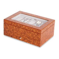 Mele & Co. - Mele & Co. Glass Top Burlwood Oak Watch Box - This handcrafted Mele & Co. Peyton multiple watch box is a classy way to display your timepieces. Features a vibrant burlwood oak finish, ten sections with removable padded watch cushions, and one drawer with three sections and gold tone pull knob.