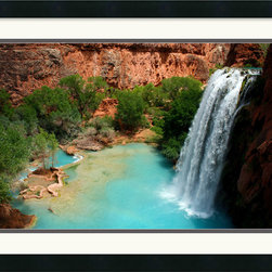 Amanti Art - Desert Oasis Framed Print by Andy Magee - At Havasu Falls, spring fed waterfalls cascade down into pristine turquoise pools. This little piece of paradise is located in the Grand Canyon National Park.
