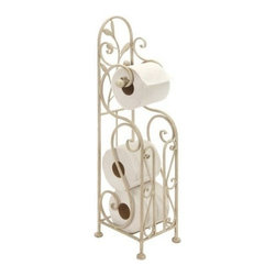 "Benzara - Shabby White Metal Toilet Paper Holder with Magazine Rack - Shabby White Metal Toilet Paper Holder with Magazine Rack. Toilet paper holder made from solid cold cast metal in shabby white finish. Dimension: 24""H x 8""W."