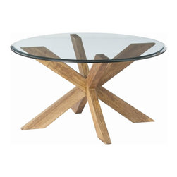 Arteriors - Arteriors 2646 Gwenieve Cocktail Table - Arteriors 2646 Gwenieve Cocktail Table made with Natural Waxed Wood/Beveled Glass.