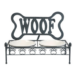 Woof Ceramic and Metal Dog Bowl - Raised for ease of digestion, the Woof dog feeder features ceramic bowls and a cute metal stand.