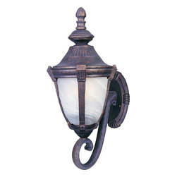 Maxim Lighting - Maxim Lighting Wakefield Mediterranean Outdoor Wall Light Fixture - The lantern shaped light of the Maxim Lighting Wakefield Mediterranean Outdoor Wall Light Fixture is perched on a delicate scroll that extends from the shaped backplate. Lanterns have long been used as outdoor wall light fixtures to illuminate a home or garage exterior. This Mediterranean style outdoor wall light has the charm of European antique lights.