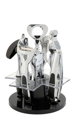"""Berghoff - Berghoff Orion Kitchen & Bar Set  6 pc. - Set includes: (6 3/4"""") corkscrew, (7 1/2"""") tin opener, (7 1/2"""") garlic press, (6 3/4"""") nutcracker, (6 3/4"""") peeler and stylish stand.  Utensils have a polished surface and the holder is made of synthetic fiber. Easy to clean and hygenic. Space saver and having all the utensil on the stand makes them easy to find."""