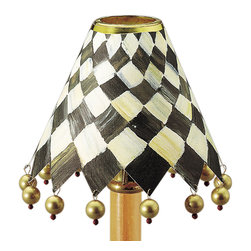 Paper Shade - Foyer | MacKenzie-Childs - Embellished with Courtly Check, the Foyer Paper Shade looks great on our chandeliers and candle-style sconces. Shade clip not included.