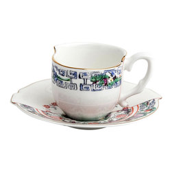 Seletti - Hybrid Tamara Coffee Cup with Saucer - The Hybrid Tamara design is an artistic representation of east meets west designs. Brighten up your morning coffee ritual with this elegant piece.